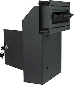 Mailbox Slot Drop Box | Steel Locking Cabinet Anti-Theft 9x2.5'' Mail Slot BLK