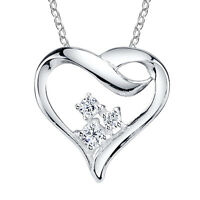 Sterling Silver CZ Heart Necklace for your love with bling, Valentines Gift