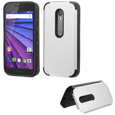 FOR Motorola Moto G 3 3rd Generation SILVER BLACK STAND HYBRID SKIN CASE COVER