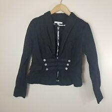 CAbi #329 Womens Sz 8 Black Fitted Peplum Military Blazer Jacket