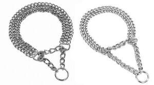 Halsband Hundekette KETTENHALSBAND 2 reihig oder 3 reihig verchromt Zugstopp