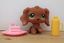 lps #252 dog cocker green brown flower bow RARE ORIGINAL AUTHENTIC+Accesories