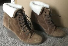RED TAPE NEXT WOMEN SUEDE LEATHER SHOES WEDGE HEELS ANKLE BOOTS 6UK brown