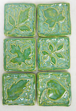 LEAF TILES Handmade Ceramic Stoneware Craft Tiles Mosaic Tiles Sea Green Set / 6