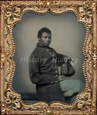 CIVIL WAR PHOTOGRAPH Unidentified African American soldier in Union uniform