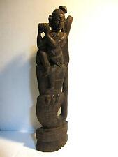 Antique Wood Hand Carved Statue Indian Krishna w Flute Figure Naga Snake Serpent