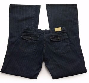 Vintage Brazilian MIX Pinstripe Dark Wash Wide Leg Flare Premium Denim Jeans 40