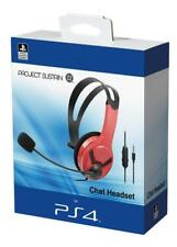 Officially Licensed Sony PS4 Headset Wired Chat Gaming Red - NEW & SEALED