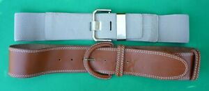 Lot of 2 Women Belts Threadz and Sussan Size S-M Beige and Brown Leather Elastic