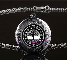 World Peace Tree Of Life Cabochon Glass Gun Black Locket Pendant Necklace