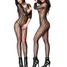 Sexy erotic lingerie swirl pattern nightwear crotchless bodystocking UK Seller