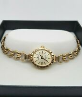 9ct Yellow Gold Ladies Sovereign Quartz Watch Hallmarked 375 Preloved