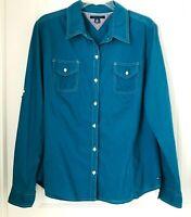 Tommy Hilfiger Women's Sz XL Green  Button Up Long Tab Sleeve Shirt