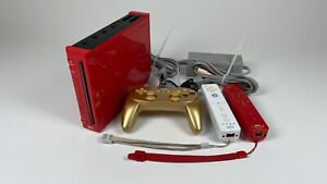Nintendo Red Wii Home Console with Cords Controllers
