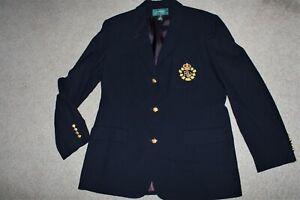 New Women Sz 12 Lauren Ralph Lauren Blazer Jacket Crest Crown 100% Wool Navy