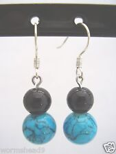 Turquoise & black round glass bead silver plated fish hook drop earrings