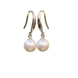 Elegant 7.5-8mm Japan Akoya Seawater White Pearl Silver S925 earring dangle #79