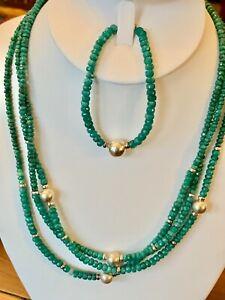 "Green Corundum Three Strand Necklace 18"" & 7"" Bracelet set Faceted 3 Estate"