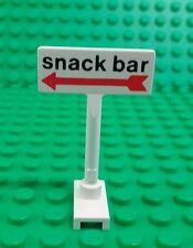 Lego Rare White 'Snack Bar' w Red Arrow Sign Printed Pole Brick x 1 piece