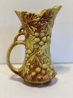 Vintage 1950s USA Mccoy Pottery Grape & Leaf Pitcher- Yellow & Brown