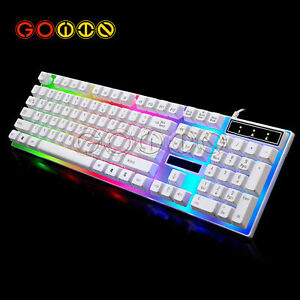 Adjustable USB Wired Keyboard Mouse LED Rainbow Color Backlight Gaming Gamer