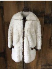 Vintage Faux Fur Coat Jacket Suede Buckle