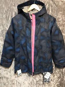 Ride Malibu Insulated Snowboard Ski Jacket Girls L 14/16 Navy Dot Camo Youth NWT