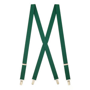 Solid Color Suspenders - 1-Inch Wide CLIP (X-Back)