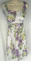 Maurices women Dress Size S White Purple Yellow Green Floral Pleated Sleeveless