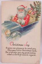 Santa Claus Postcard Driving Car Toys Christmas Tree Die Cut JP NY Vintage #17