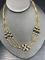"Ladies Vintage 18"" Black White Gold seed bead Pretty Three Strand Necklace"