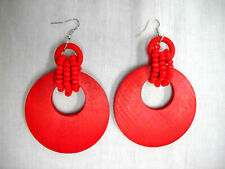 NEW BIG TRUE RED FLAT HOOP w 3 BEAD STRAND WRAP STAIN DANGLING FASHION EARRINGS