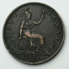 Dated : 1876 - Half Penny - 1/2d Coin - Queen Victoria - Great Britain