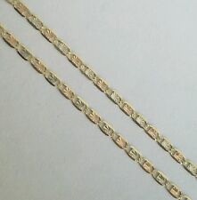 "3 color 14k yellow white and rose gold woman's chain 18"" long 2 mm"