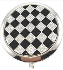 Black & White Crystallized 135 Compact Mirror Bejeweled Luxury Fine Collectible