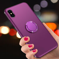 For iPhone X 8 6s 7 Plus Bling Glitter Diamond Ring Stand Holder Soft Case Cover