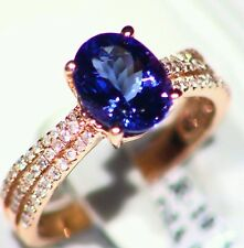 2.56CT 14K Gold Natural Tanzanite White Cut Diamond Vintage AAA Engagement Ring