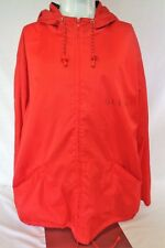 Guess Classics Mens Large Red 100% Nylon Full Zip Hooded Rain Jacket Spellout