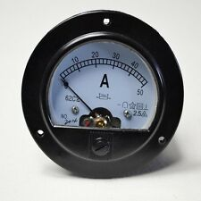New DC 0-50A Round Analog Amp Panel Meter Current Ammeter Top Quality
