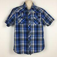 The North Face Blue Plaid Short Sleeve Button Down Shirt Men's Size L