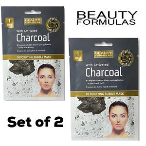 Beauty Formulas Charcoal Activated Detox Bubble Face Mask Set of 2