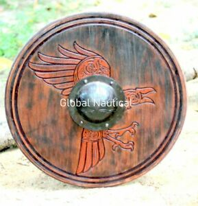 """Raven Viking Shield Hand Carving Norse Raven Wooden Round 24"""""""