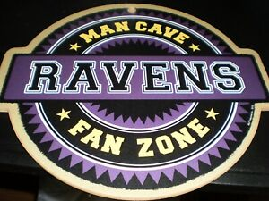 Baltimore Ravens  Man Cave Fan Zone Sign 9 X 10  New Free Shipping