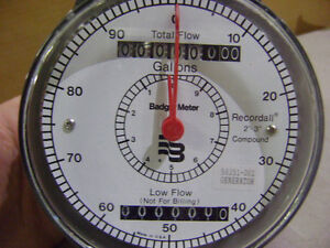 """NEW BADGER WATER METER RECORDALL 2""""-3"""" COMPOUND REGISTER GALLONS LOW FLOW 58351-"""