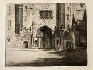 19th Century signed etching by Fred A Farrell, Glasgow War Artist