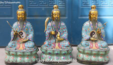 "24"" Cloisonne Enamel Gilt Laojun Taoist Leader 3 Immortal God Qing Statue Set"