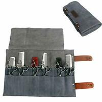 Leather Roll Up Hairdresser Scissors Holsters Holder Pouch Case Barber Tools Bag