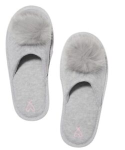 Victoria's Secret Pom Pom Slippers Heather Grey, SMALL (5-6) NWT