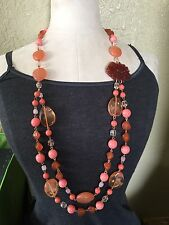 "ROBERT ROSE QVC Long 36"" Layered Bead Necklace Pink Coral Molded Flower"