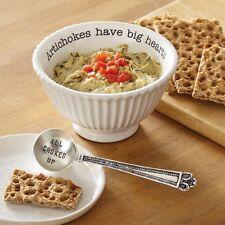 Mud Pie ML7 Circa Kitchen Dining Artichoke Dip Cup Bowl & Spoon Set 4851077